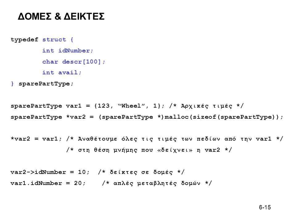 ΔΟΜΕΣ & ΔΕΙΚΤΕΣ typedef struct { int idNumber; char descr[100];